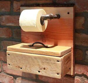 toilettenpapierhalter wc papier rollenhalter holz box f r feuchtt cher ebay. Black Bedroom Furniture Sets. Home Design Ideas