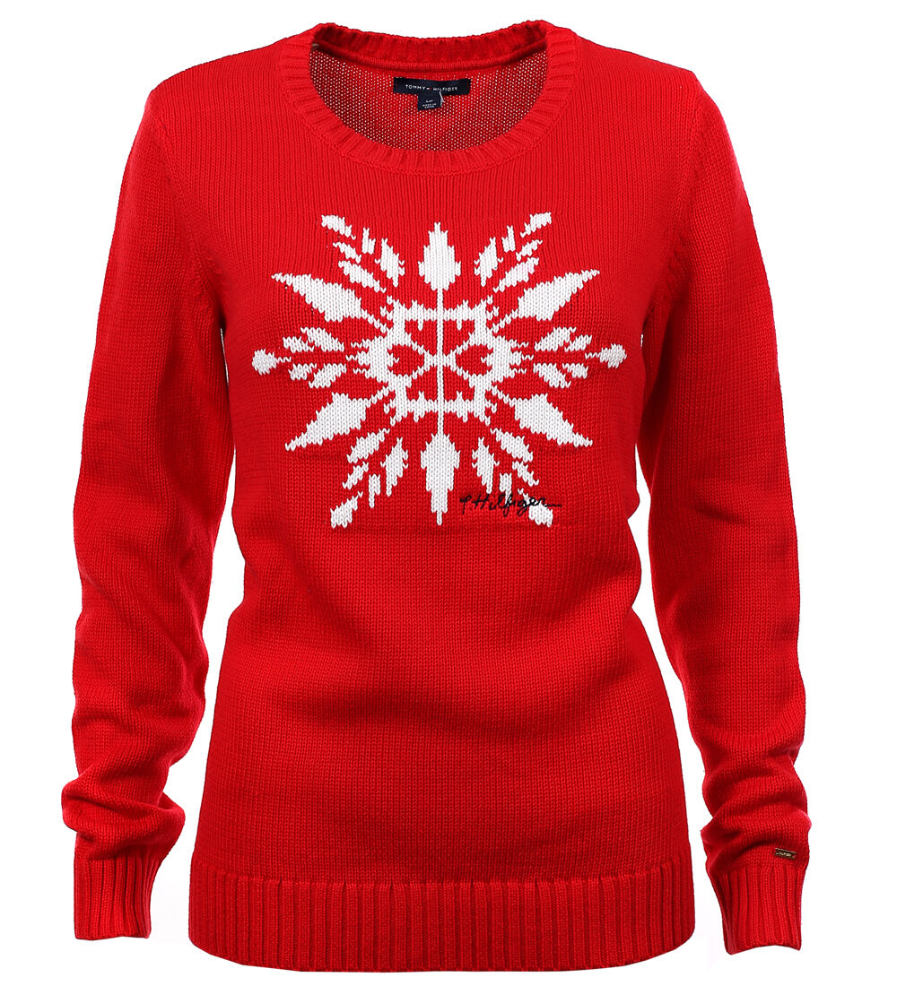 tommy hilfiger damen pullover pulli strickpullover snowflake red size. Black Bedroom Furniture Sets. Home Design Ideas
