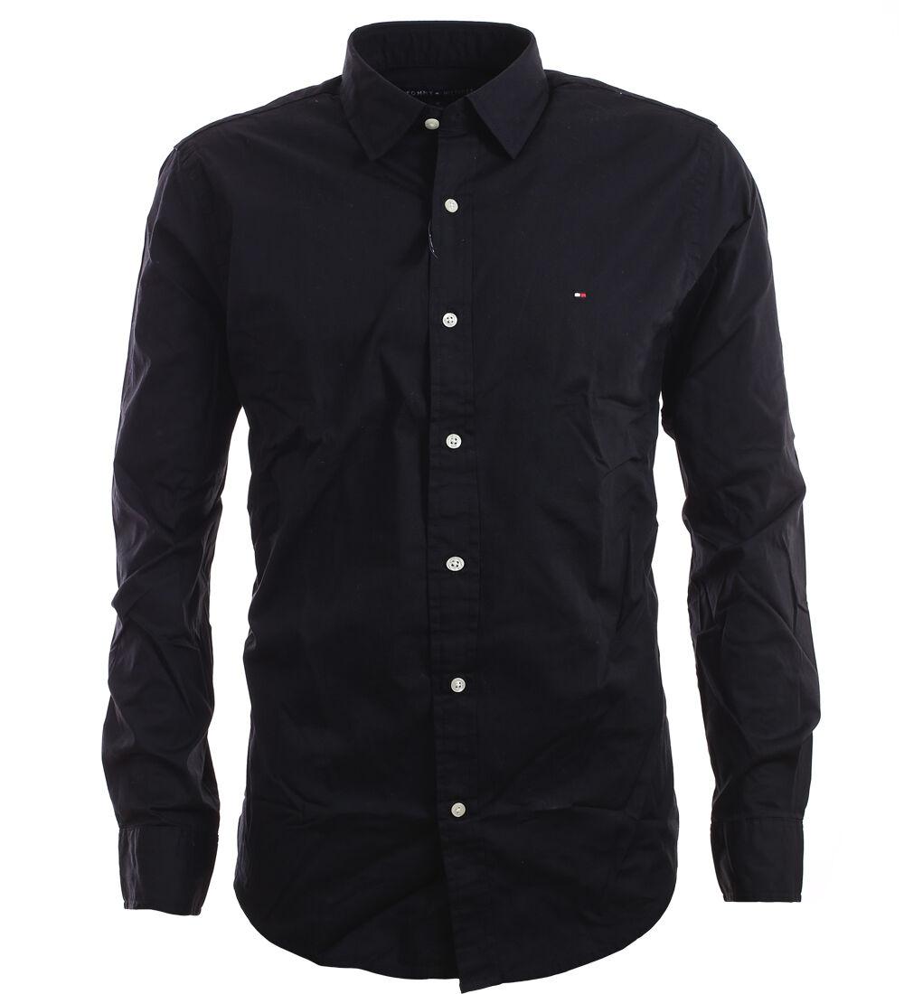 tommy hilfiger premium langarm business hemd shirt schwarz. Black Bedroom Furniture Sets. Home Design Ideas