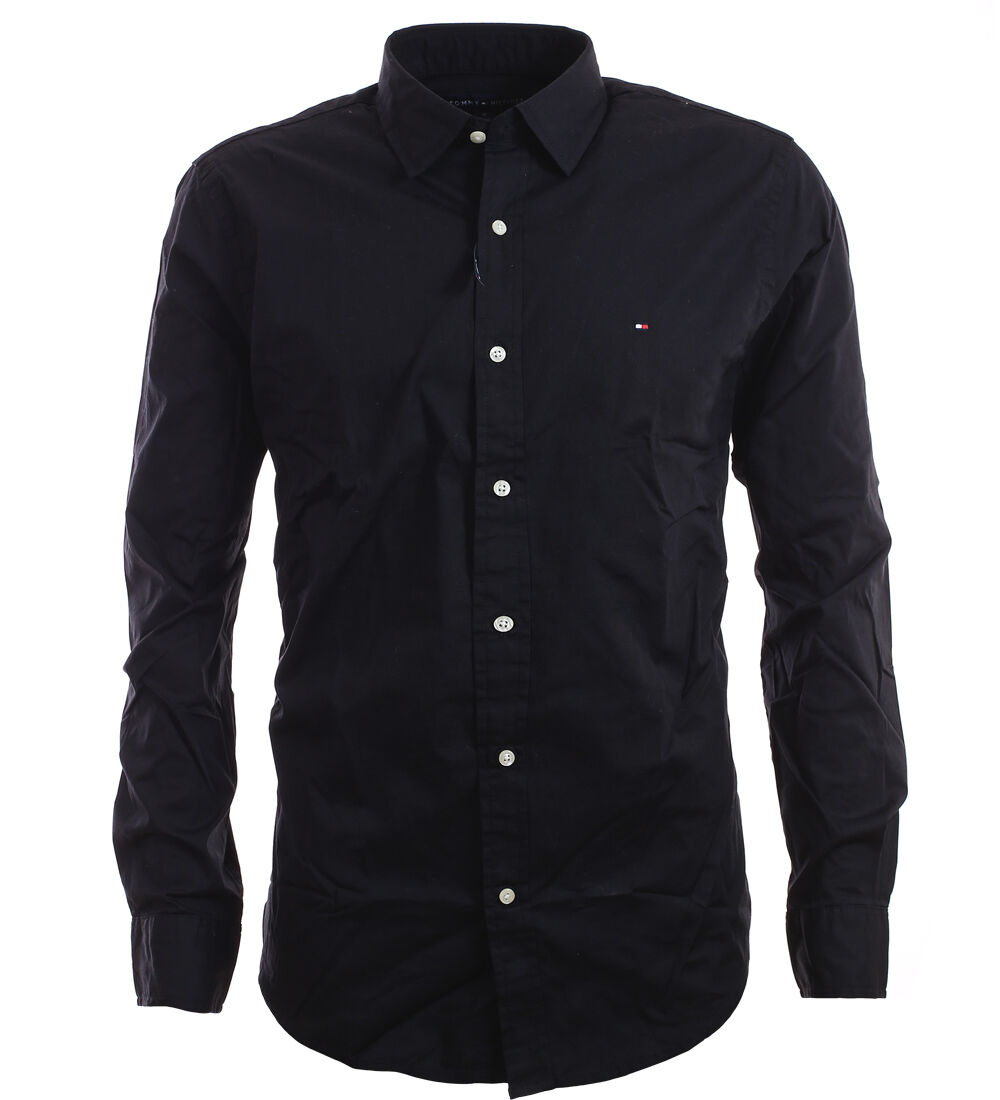 tommy hilfiger premium langarm business hemd shirt schwarz size s xxl ebay. Black Bedroom Furniture Sets. Home Design Ideas