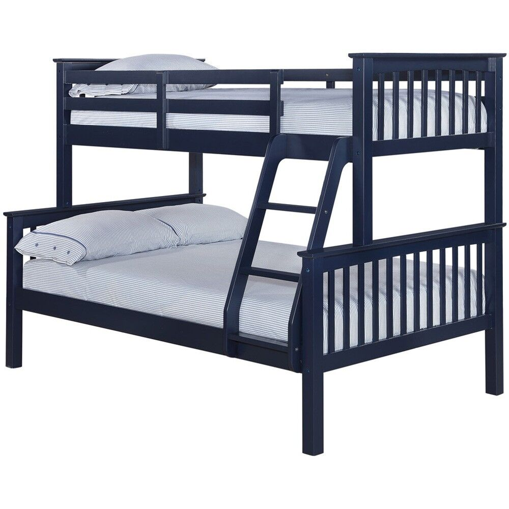 Top Quality LPD Kids Wooden 2 Tier Triple Trio Bunk Bed Solid Navy Blue 3ft 4