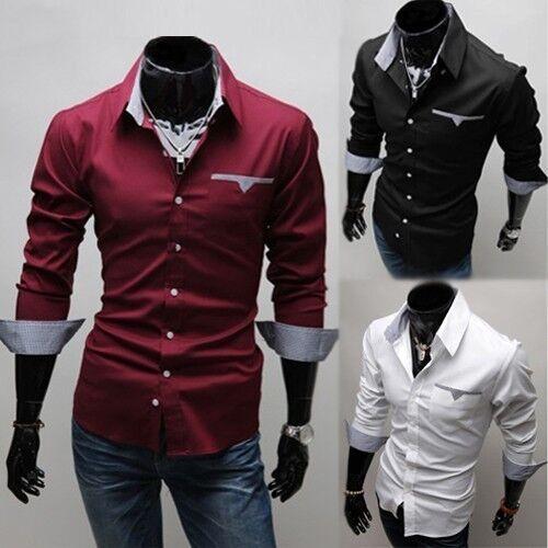 Top Design Fahion Men's Casual Shirts Slim Fit Long Sleeve Dress Shirt Free SHIP