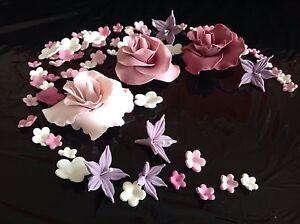Tortenaufleger zuckerblumen hochzeit muffins fondant tortendeko kuchendeko rot ebay - Kuchendeko foto ...
