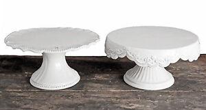 Tortenplatte-Etagere-Kuchenplatte-Keramik-Shabby-Chic-Geschirr-Weiss
