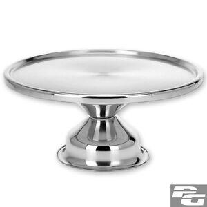 Tortenplatte-Kuchenplatte-mit-Fuss-Edelstahl-33-cm-Servierplatte-Buffet