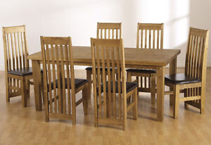 Tortilla Distressed Waxed Pine Dining Set - Table & 6 Chairs FREE DELIVERY