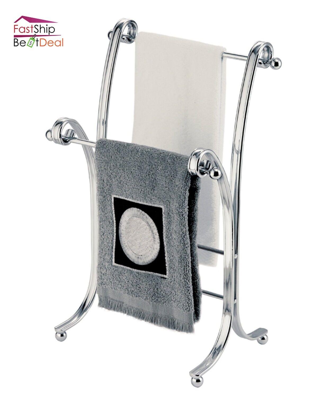 Towel Rack Stand Chrome Bathroom Holder Fingertip Floor Free Standing Organizer Ebay