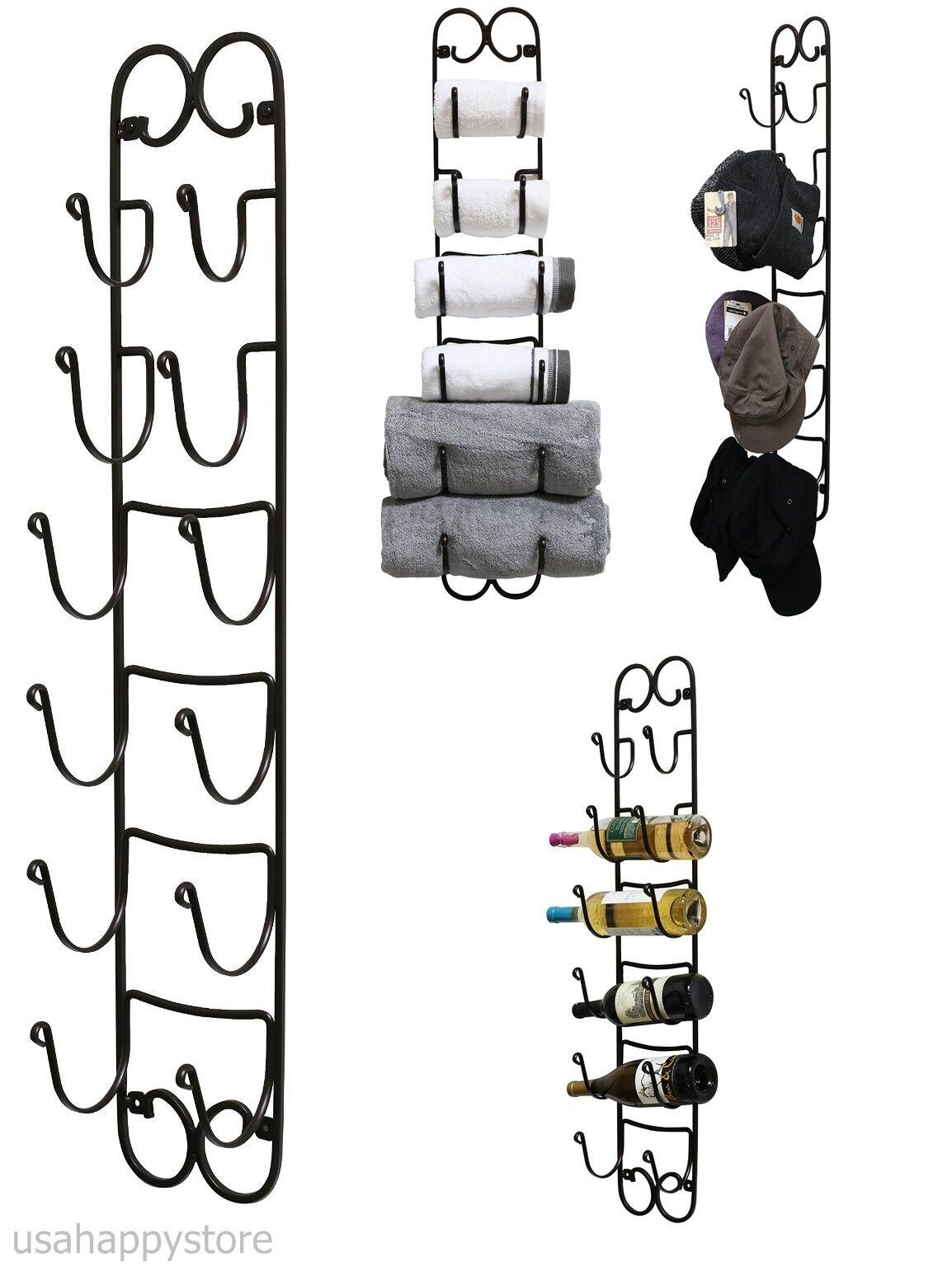 Towel wine hat rack wall mount bathroom holder display for Ways to hang hats on wall