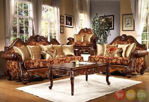 Formal luxury sofa love seat antique style living room set hd 481
