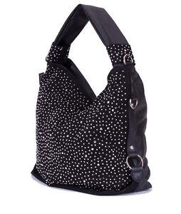 Trendy-Glitzer-XL-Tasche-Handtasche-Shopper-mit-Strass-Nieten-in-Schwarz