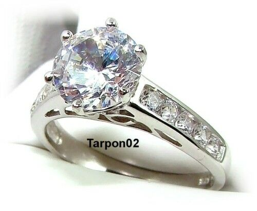 Diamonique Round Channel Set Engagement Qvc Ring 6 NEW EBay