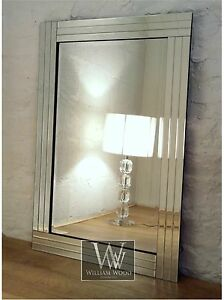 Trevina-Silver-Glass-Framed-Rectangle-Bevelled-Wall-Mirror-36-x-24-Large