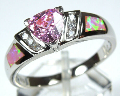 Trillion Pink Topaz & Pink Fire Opal Inlay 925 Sterling Silver Ring all Sizes in Jewelry & Watches, Fine Jewelry, Fine Rings | eBay