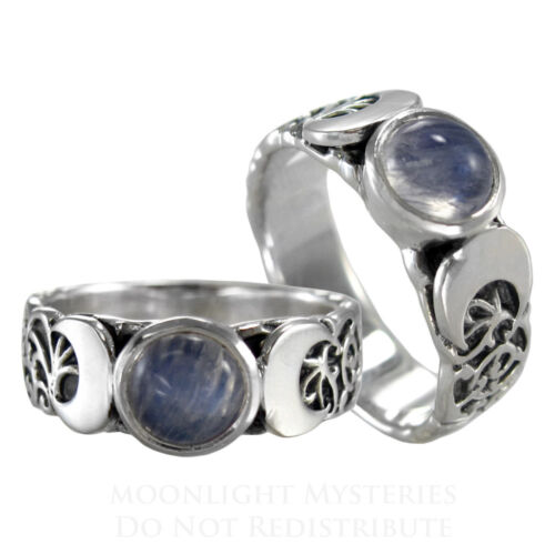 Triple Moon Goddess Moonstone Ring Sterling Silver SS sz 4-15 Lunar Moon phases in Jewelry & Watches, Fine Jewelry, Fine Rings | eBay