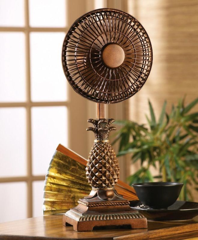 Tropical home decor unique tropical pineapple table fan for Home decorations fan