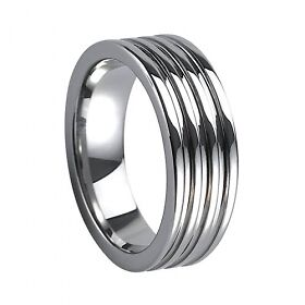 Tungsten Carbide Ring 8MM Men Deep Lines Design Ring Wedding Band - TG018 in Jewelry & Watches, Men's Jewelry, Rings | eBay
