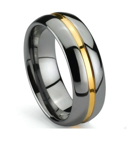 Tungsten Carbide Ring Amazing Elegant Men 14K Gold Inlay Band 8MM Ring - TG035 in Jewelry & Watches, Men's Jewelry, Rings | eBay