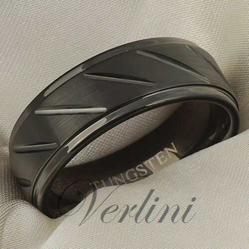 Tungsten Ring Men Black Wedding Band Brushed Engagement Bridal Jewelry Size 6-13 in Jewelry & Watches, Men's Jewelry, Rings | eBay