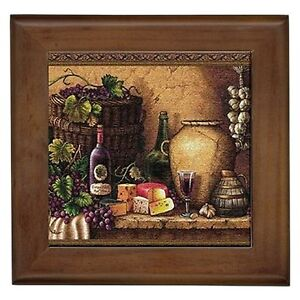 Tuscan wine bottle framed tile picture kitchen wall home for Kitchen framed wall art