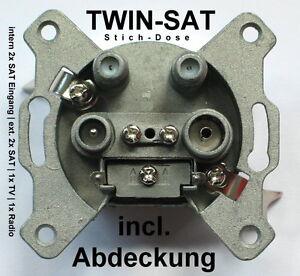 twin sat dose 2x sat eingang tv radio 2x sat ausgang farbe grau unterputz ebay. Black Bedroom Furniture Sets. Home Design Ideas