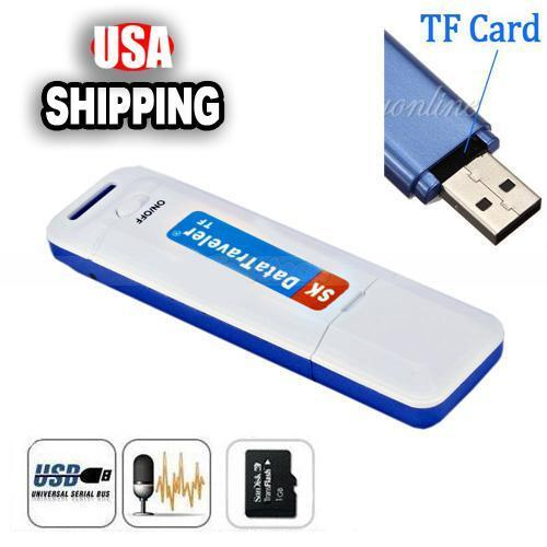 U Disk Shaped Spy Digital Audio Voice Recorder Pen USB Flash Drive TF Card Slot
