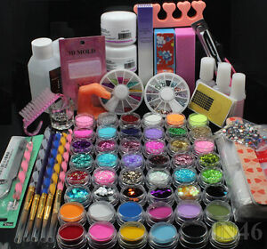 UK Delivery 48 Acrylic Glitter Liquid Nail Art Brush Glue UV
