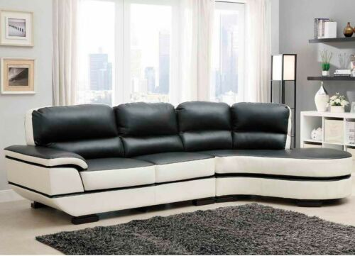 ULTRA MODERN BROWN & WHITE LEATHER SOFA SECTIONAL LIVING ROOM FURNITURE SET in Home & Garden, Furniture, Sofas, Loveseats & Chaises | eBay