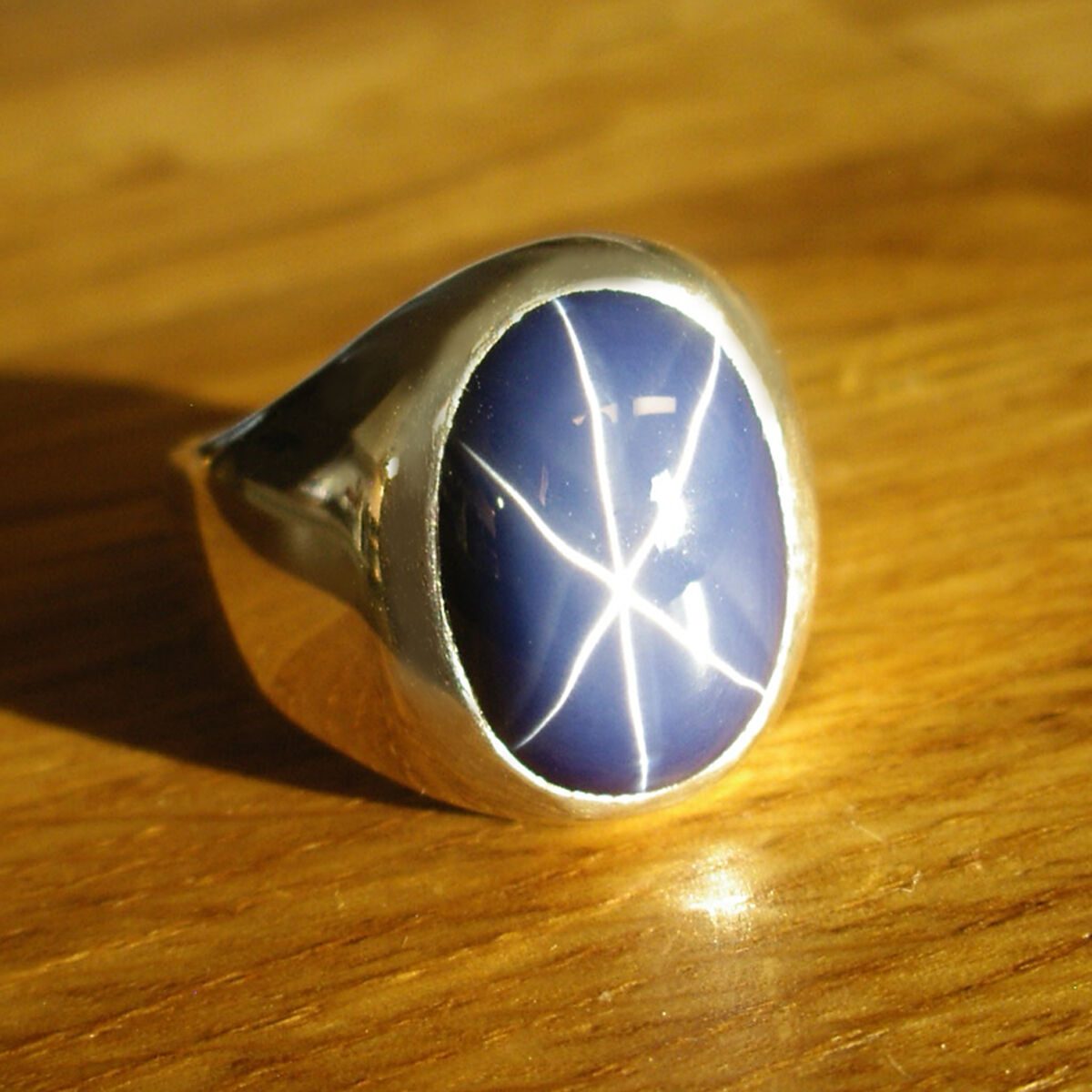 Unique Heavy Custom Mens Ring w An Oval Blue Star Sapphire in Sterling