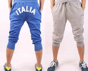 unisex men baggy athletic 3 4 pants gym workout sweat track jogging. Black Bedroom Furniture Sets. Home Design Ideas