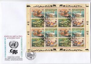 UNO-GENF-2000-FDC-Gefaehrdete-Arten-385-88-Kleinbogen-gestempelt-19274