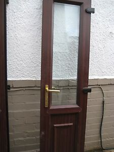upvc porch patio french doors with frame brown wood grain