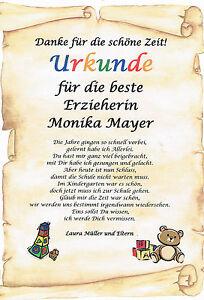 Urkunde abschied kindergarten erzieherin danksagung - Geschenk erzieherin weihnachten ...