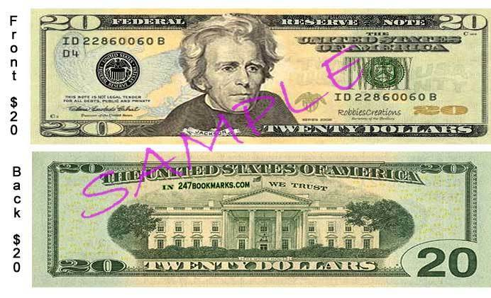 US Money Bookmark $20 Fake Dollar Replica Novelty Bill Play
