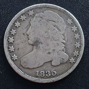 USA-1835-Dime-Capped-Bust-10-Cent-Philadelphia-Silber-Selten-2053
