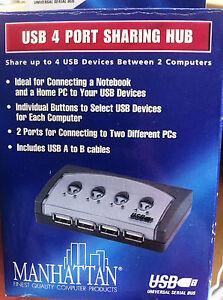 USB-4-Port-Hub-2-Ports-zum-Anschluss-von-2-unterschiedlichen-Computern
