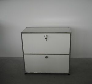 usm haller sideboard 2 oh fritz haller wei 2 klappen abschlie bar ebay. Black Bedroom Furniture Sets. Home Design Ideas