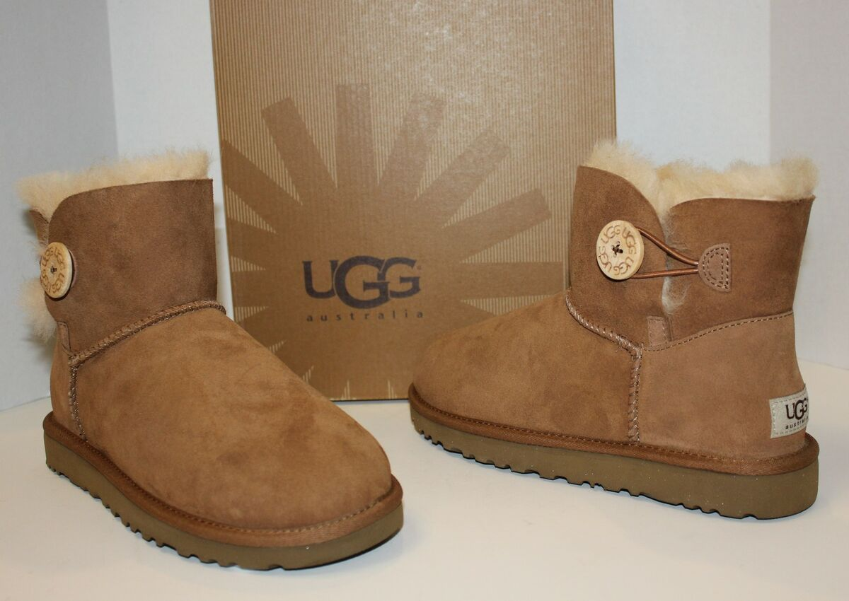 UGG Mini Bailey Button Chestnut Suede Womens Boots New in Box