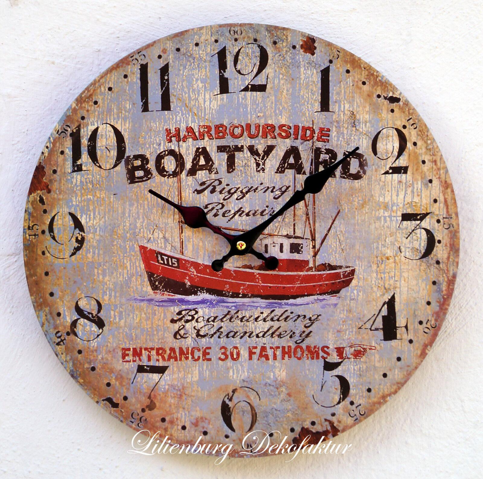 uhr wanduhr schiffsuhr bootsuhr antik schiff boot deko nostalgie braun t171 15 ebay. Black Bedroom Furniture Sets. Home Design Ideas