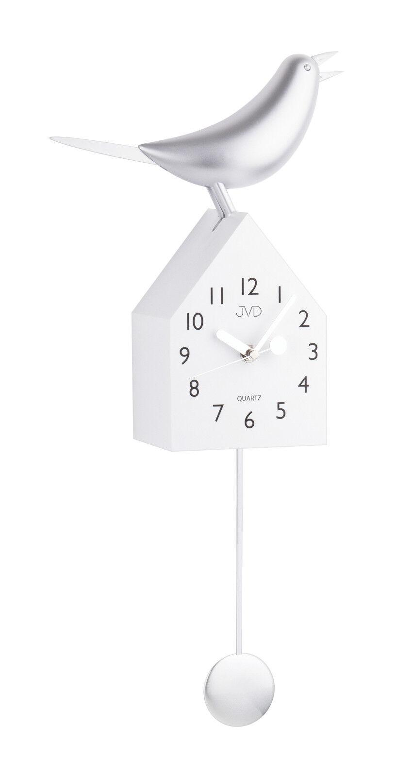 moderne kuckucksuhr pendeluhr wei mit beweglichem vogel silber neu ebay. Black Bedroom Furniture Sets. Home Design Ideas