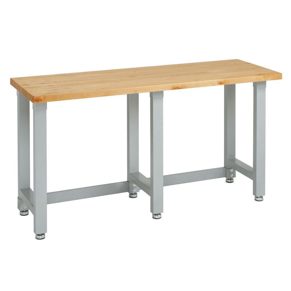 ... Commercial Garage Wooden Top Workbench Table Metal Steel Frame | eBay