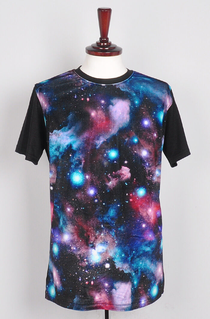 Unisex womens Velvet galaxy space t shirt loose fit print short sleeve top