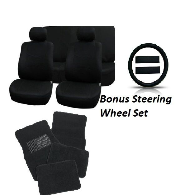 Universal Full Set Solid Black 15pc Car Seat Covers Steering Wheel Cover 4pc Mat