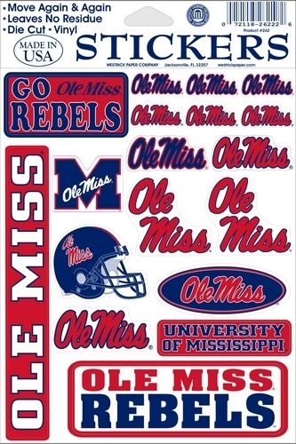 University Mississippi Ole Miss Rebels Decal Stickers 072118262434