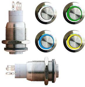 V2A-EDELSTAHL-Drucktaster-Taster-Klingeltaster-Klingelknopf-Led-beleuchtet