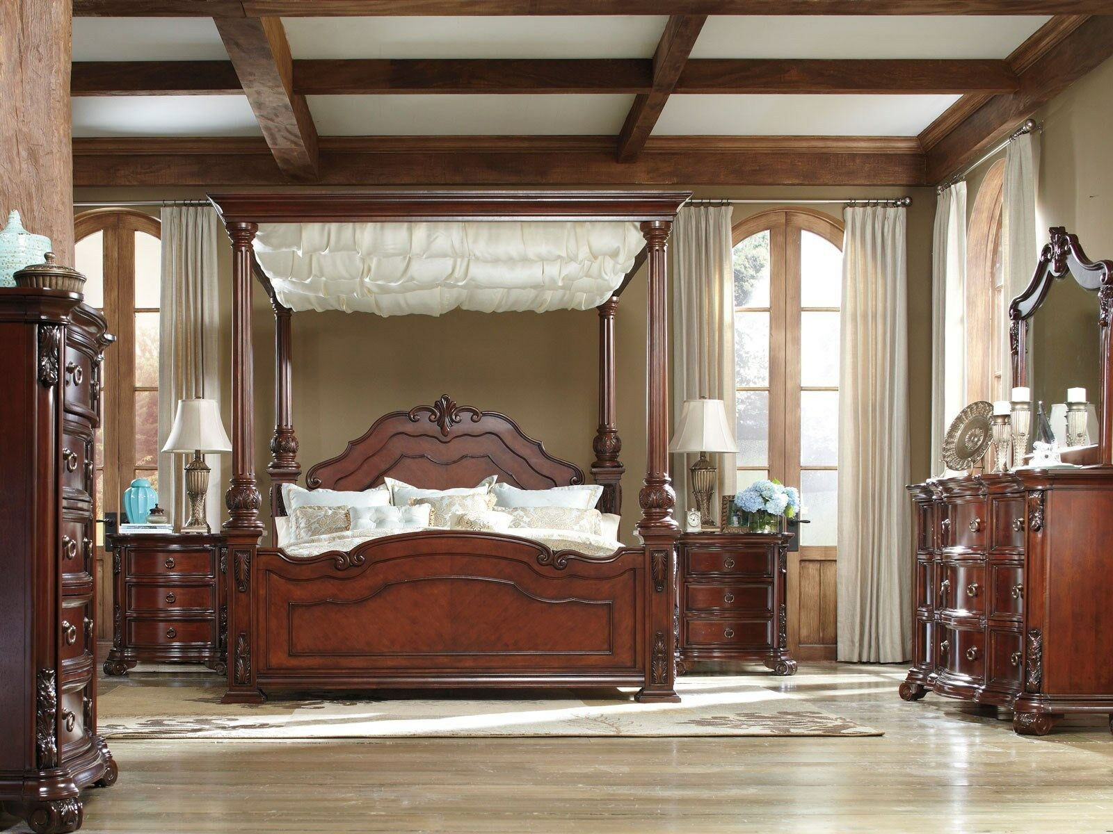 VERONA-5pcs EUROPEAN TRADITIONAL CHERRY QUEEN KING CANOPY BEDROOM SET