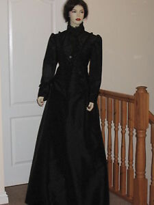 VICTORIAN-EDWARDIAN-STEAMPUNK-STYLE-MATINEE-OUTFIT-Sizes-14-18-Black