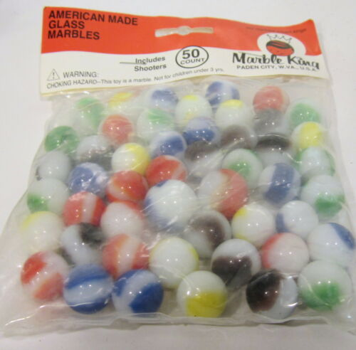 VINTAGE 5/8 INCH MARBLE KING RAINBOW MARBLES IN ORIGINAL 50 PK. BAG in Toys & Hobbies, Marbles, Pre-1970 | eBay