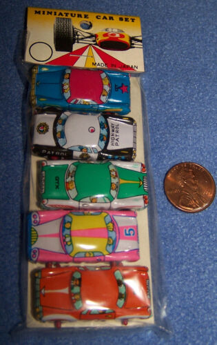 VINTAGE 5 PACK MINIATURE TIN LITHOGRAPH CAR SET- 1960'S - JAPAN - MIP in Toys & Hobbies, Vintage & Antique Toys, Tin | eBay