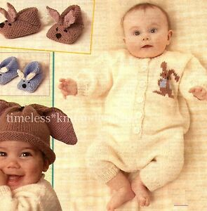 VINTAGE BABY KNITTING PATTERN FOR RABBIT SLIPPERS, BUNNY EARS HAT