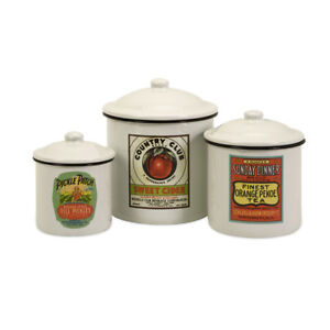 vintage country chic s 3 vintage enamel canister set